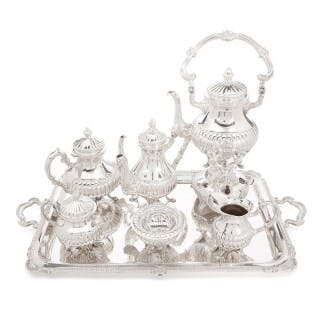 Sterling silver tea and coffee service set on tray by Camusso