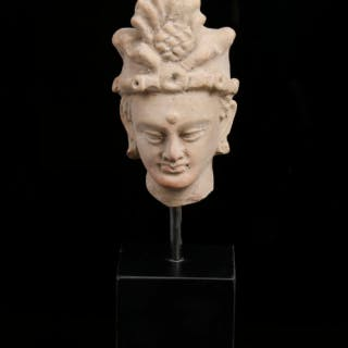 Fine Gandharan Terracotta Head of Baddhisattva