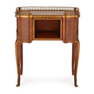 Antique parquetry writing desk with gilt bronze mounts by Sormani