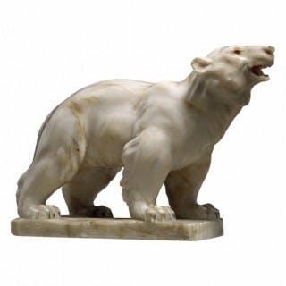 EARLY 20TH CENTURY ALABASTER POLAR BEAR