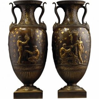 PAIR OF BRONZE AND GILT CLASSICAL VASES BY BARBEDIENNE