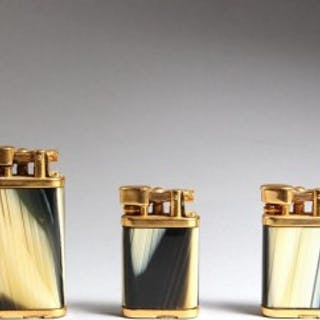 COLLECTION OF THREE DUNHILL UNIQUE GOLD PLATED HORN LIGHTERS