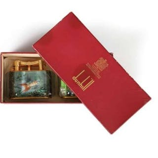 2 IMMACULATE GOLD PLATED HALF GIANT DUNHILL AQUARIUM TABLE LIGHTERS