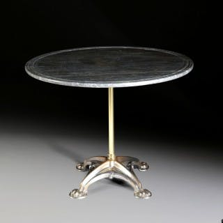 An iron and brass gothic centre table