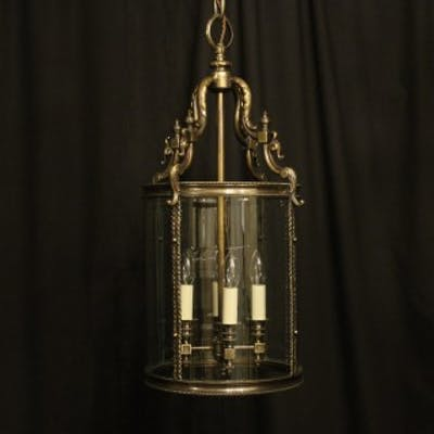 English Bronze 4 Light Antique Convex Lantern