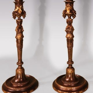 Pair Of Mid 19th Century French Candlesticks Signed Barbedienne