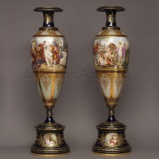 A Finely Decorated Pair of Vienna Porcelain Vases