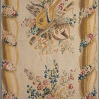 18TH CENTURY FLORAL AUBUSSON TAPESTRY FRAGMENT