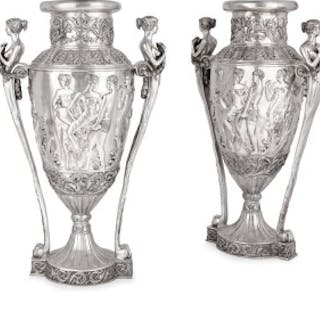 Two very large French silvered bronze vases