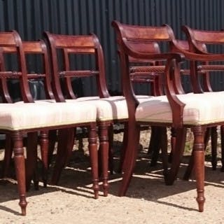 Set of Eight / Ten Regency Mahogany Antique Dining Chairs