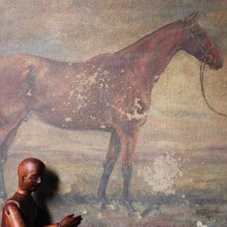"""An Early 20thC English School Oil on Canvas Study of Race Horse """"April"""