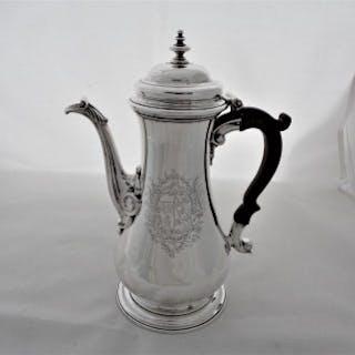 Nice quality armorial George II silver coffee pot London 1753 Thomas Whipham