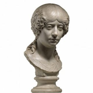 20TH CENTURY MARBLE BUST PORTRAIT OF A WOMAN, AFTER A ROMAN ORIGINAL