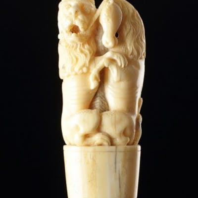 Rare English Renaissance Courtly Ivory Handle from a Hunting or Carving Knife