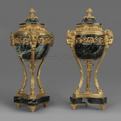 A Pair of Louis XVI Style Gilt-Bronze and Marble Cassolettes
