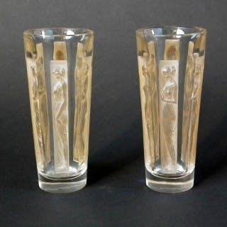 Rene Lalique Glass 'Six Figurine' Shot Glasses (two)
