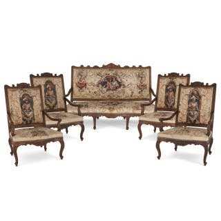 Beauvais tapestry and beech wood furniture suite