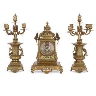 Japanese style gilt bronze and enamel clock set