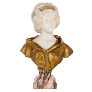 Gilt bronze and white marble bust of a woman by Gory