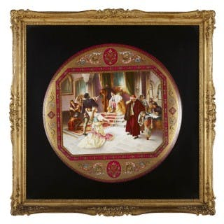 Royal Vienna porcelain charger with theatre theme