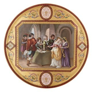 Antique parcel gilt and painted porcelain charger plate by Royal Vienna