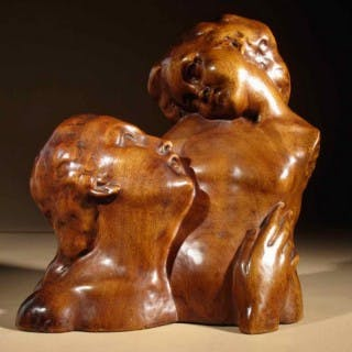 A Beautiful Very Stylish and Lovely Wooden Sculpture of a Mother and Child