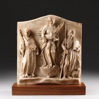 Finely Carved Netherlandish Alabaster Devotional Relief Depicting