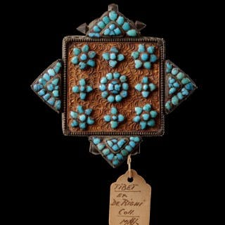 Two Tibetan Silver and Turquoise Floral Pattern Encrusted Filigree