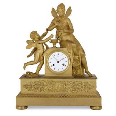 Empire period gilt bronze mantel clock by Galle