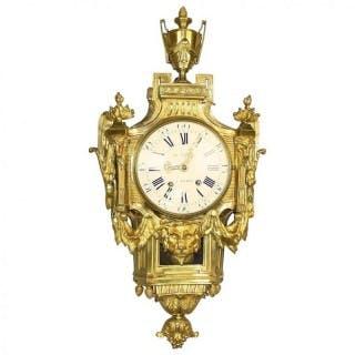 """18th Century Louis XVI Wall or Cartel Clock à la Grècque, signed """"Le"""