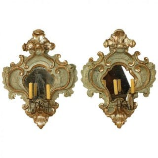 Pair of Italian Mid-18th Century Baroque Painted and Silvered Sconces