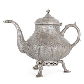 19th Century Indian silver samovar teapot