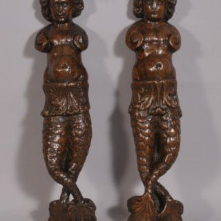Antique Pair of 17th Century Carved Oak Caryatids