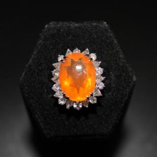 18ct White Gold 15.02ct Fire Opal and Diamond Ring