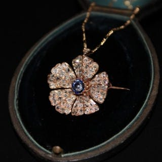18ct Rose Gold, Diamond & Sapphire Flower Brooch/Pendant, with 18ct
