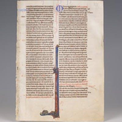British Medieval Bible Leaf