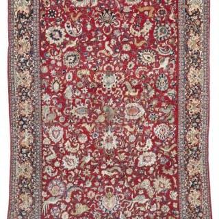 Rare exceptional antique Tehran carpet, silk highlights