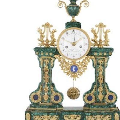 Louis XVI period malachite, gilt bronze and jasperware mantel clock