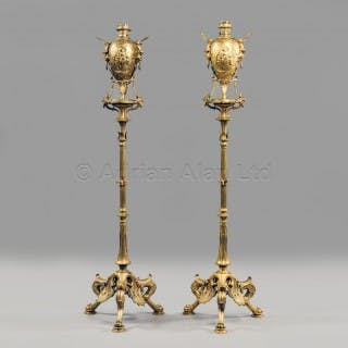 A Pair of Neo-Grec Style Gilt-Bronze Torchères