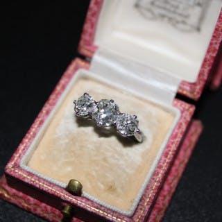 Platinum 2.86ct Three Stone Diamond Ring, Circa 1930