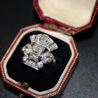 Late Art Deco Diamond & Platinum Dress Ring Circa 1945