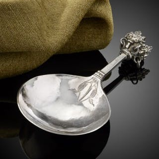 A fine Swedish 'Crown top' silver and parcel gilt spoon c.1700