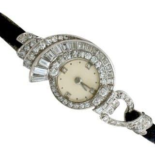3.07 ct Diamond Cocktail Watch in Platinum - Art Deco - French Antique