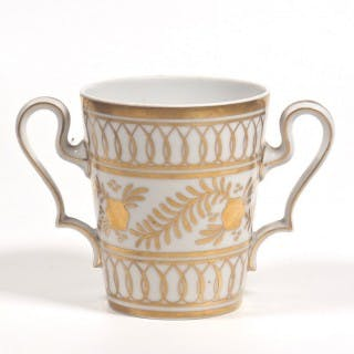 Limoges Porcelain Hand Painted Vase/ Loving Cup