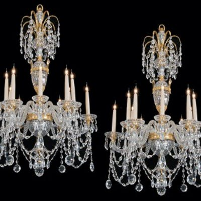 A PAIR OF 20TH CENTURY CHANDELIERS IN THE STLYE OF PERRY & CO