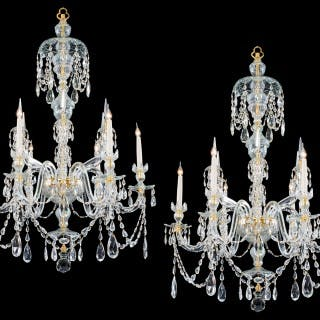 A FINE PAIR OF SIX LIGHT ORMOLU MOUNTED CUT GLASS ANTIQUE CHANDELIERS