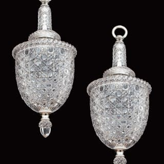 A FINE PAIR OF SILVER PLATED AND CUT GLASS ELECTROLIERS BY F&C OSLER