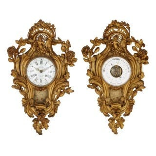 Rococo style gilt bronze cartel clock and barometer