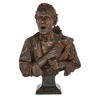 Bronze bust sculpture on marble plinth