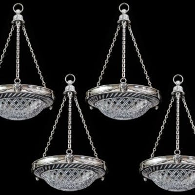 A SET OF FOUR CUT GLASS SILVER MOUNTED DISH LIGHTS BY F&C OSLER